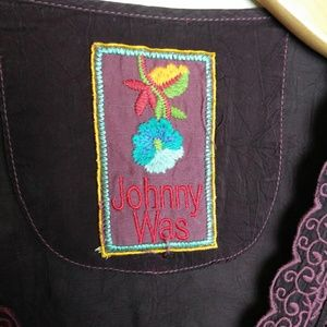 Johnny Was Deep Plum Embroidered Dress SZ M